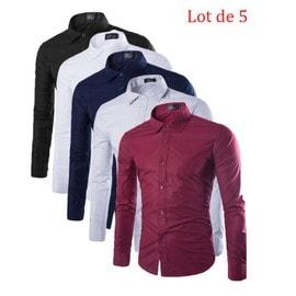 best cheap e346b 46039 chemise-homme-lot-de-5-uni-vin-rouge-blanc-noir-gris-bleu -marin-chemise-hommes-coton-revers-mode-couleur-unie-manche-longue-slim-fit-zs0336a-1122661912 ML.jpg