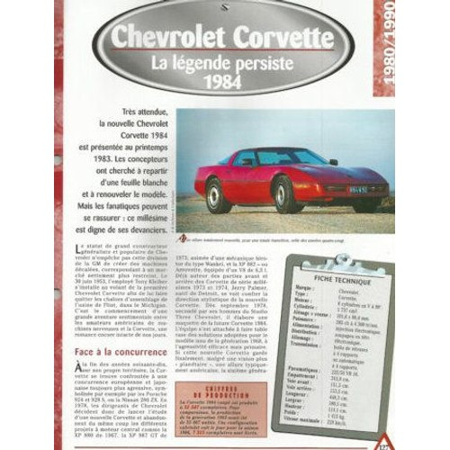 Chevrolet Corvette Fiche Auto Technique Neuf Et Doccasion