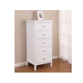 chiffonnier albane 5 tiroirs pin blanc achat et vente. Black Bedroom Furniture Sets. Home Design Ideas