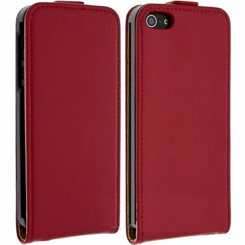 Clapet coque etui housse case cuir rouge pour apple iphone for Housse iphone 5 cuir
