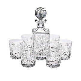 coffret avec 1 carafe whisky et 6 verres whisky cristal rotation star whiskyset. Black Bedroom Furniture Sets. Home Design Ideas