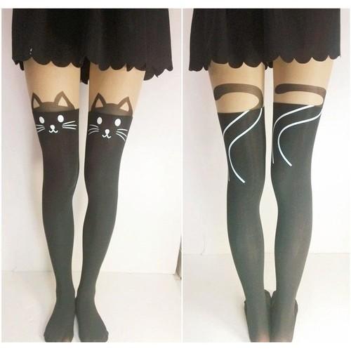 Collants bas chaussettes hautes manga tatouage chat noir moustache queue cosplay animal kawaii - Tatouage chat noir ...