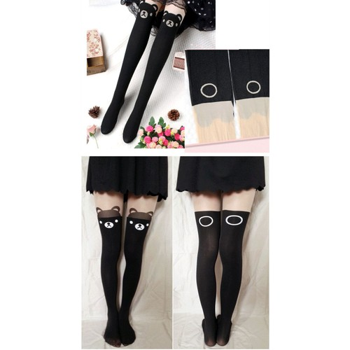 Collants Bas Chaussettes Hautes Manga Tatouage Ours Ourson Déguisement Cosplay Animal Kawaii Elève Japonaise Extra,