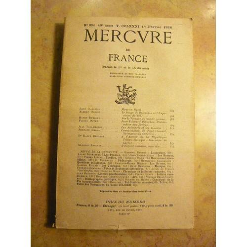mercure de n 176 951 1er f 233 vrier 1938 contient entre autres maurice ravel par ren 233