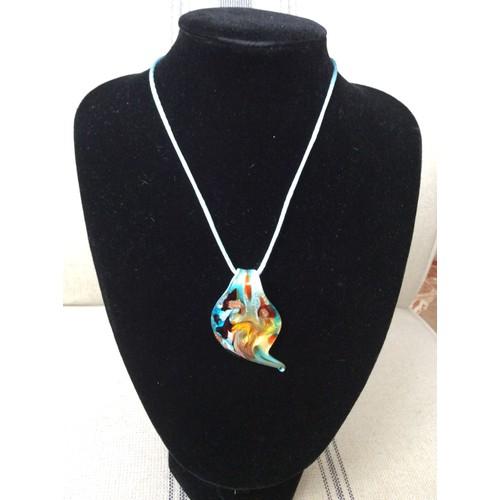 1036096236e Collier Ras De Cou Pendentif En Verre Murano Femme Womans Mode Fashion  Élégant Style Bijoux Chaîne Chain Cadeau Present