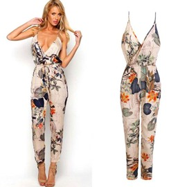 combinaison jumpsuit femme mode sexy femmes robe longue de soir e imprim floral v cou dos nu. Black Bedroom Furniture Sets. Home Design Ideas