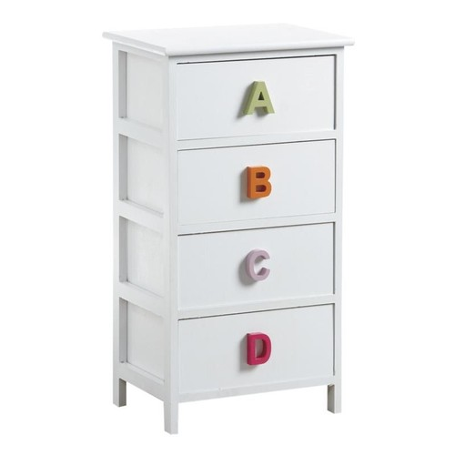 commode enfant en bois blanc 4 tiroirs alphabet pas cher. Black Bedroom Furniture Sets. Home Design Ideas