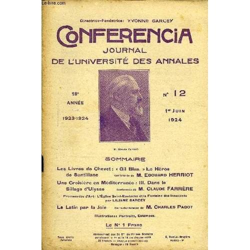 Conferencia 18e Annee N12 Les Livres De Chevet Gil Blas Le Herosde Santillaneconferencedem Edouard Herriotune Croisiere En Mediterranee Iii Dans Lesillage