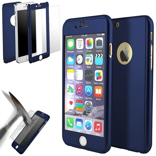 coque 360 full protection iphone 7 bleu fonce dreamshop75 pas cher. Black Bedroom Furniture Sets. Home Design Ideas