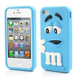Coque 3D Iphone 5S/G Cover Case m&m's silicone BLEUE