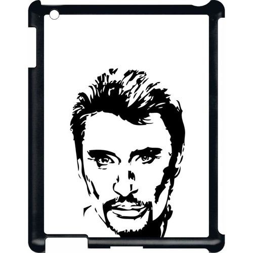 Coque Apple Ipad 3 Dessin Johnny Hallyday Noir Et Blanc Pas Cher