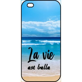 Coque pour smartphone - La vie est belle fond mer - compatible avec apple iPhone 5s - Plastique - bord Noir