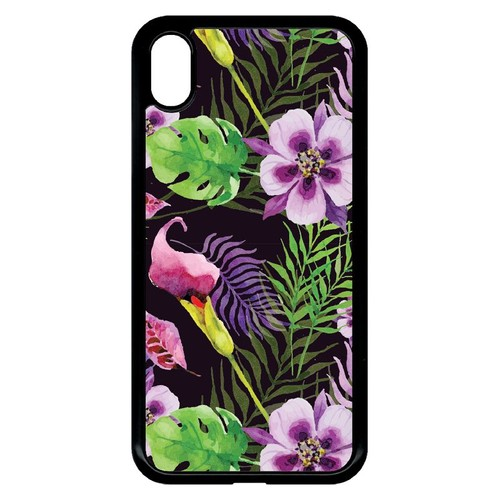coque iphone xr fleur noir