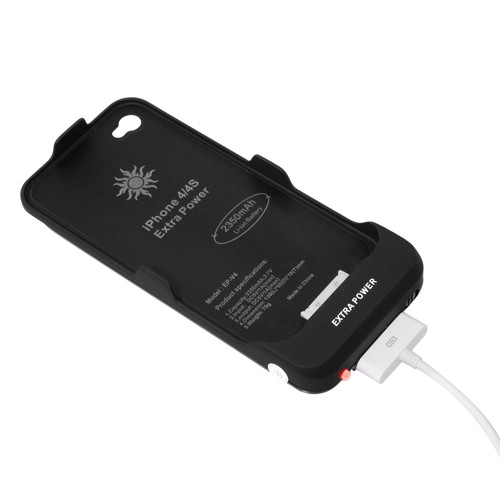 caseink coque batterie haute capacit 1900 mah iphone 4 4s noir ultra slim. Black Bedroom Furniture Sets. Home Design Ideas