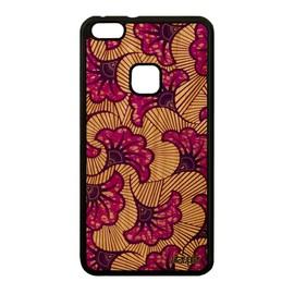 Coque bois silicone Huawei P10 Lite wax smartphone afrique imprimé WAS-LX1A tissu housse africain motif coloré telephone violet de