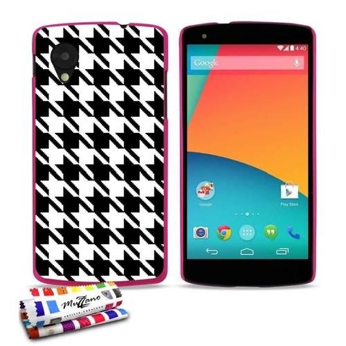 Coque Case Google Nexus 5 Pied De Poule Contour Rose Silicone Rigide (Tpu) 61a59689c3e