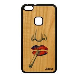 Coque en bois silicone portrait pour Huawei P10 Lite design levre dessin femme a
