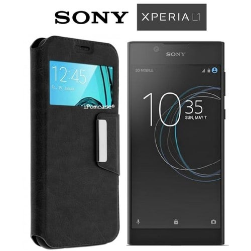 coque tui fen tre sony xperia l1 contour incassable couleur noir. Black Bedroom Furniture Sets. Home Design Ideas