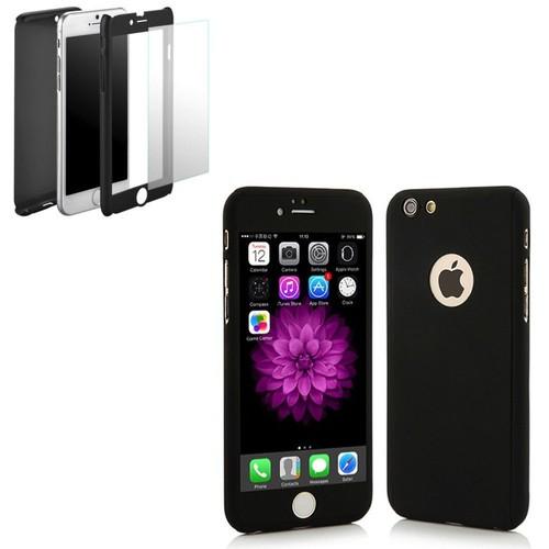 coque 360 full protection pour iphone 6 plus 6s plus noir pas cher. Black Bedroom Furniture Sets. Home Design Ideas