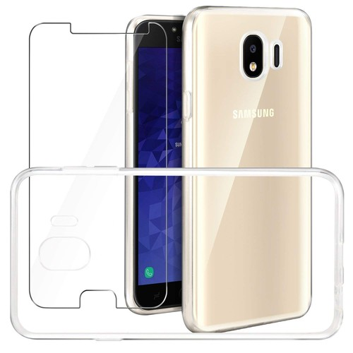 Coque Galaxy A6 2018 Transparente + Verre Trempé Écran Protecteur, Souple  Silicone Étui Protection Bumper Housse Clair Doux Tpu ... f6393d384001