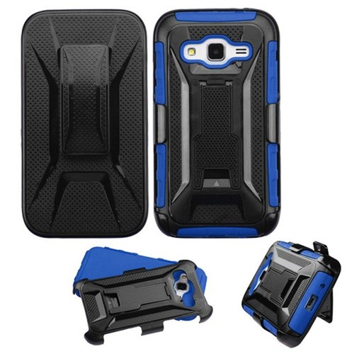Coque housse tui hybride robuste pc silicone support clip for Housse samsung galaxy core prime