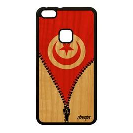 Coque Huawei P10 Lite bois silicone drapeau tunisie tunisien case jo motif foot