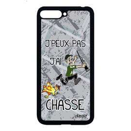 Coque Huawei Y6 2018 silicone j'peux pas j'ai chasse Gris housse case telephone