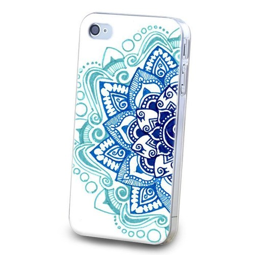 coque iphone 4 4s mandala 2 bleu turquoise marine blanc. Black Bedroom Furniture Sets. Home Design Ideas