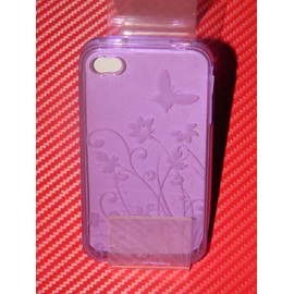 Coque Iphone 4 4s Slicone Crystal Violet Deco Papillon