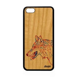 Coque iPhone 5C en bois silicone loup pastel chien tattoo telephone homme Apple iPhone 5C