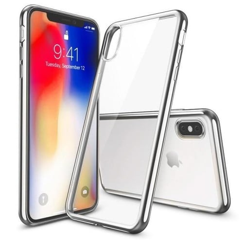 coque iphone x transparente contour argent