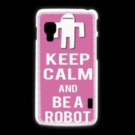 Coque Lg L5 2 Keep Calm Be A Robot Rose