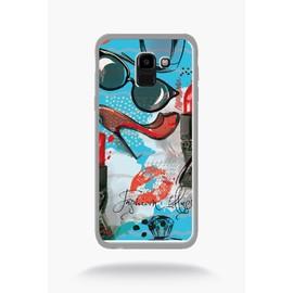 Coque pour smartphone - Motif girly fond bleu claire - compatible avec samsung Galaxy J6 (2018) - Plastique - bord Transparent
