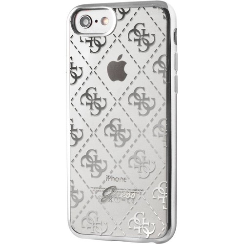 coque semi rigide guess transparente et argent e pour iphone 7. Black Bedroom Furniture Sets. Home Design Ideas