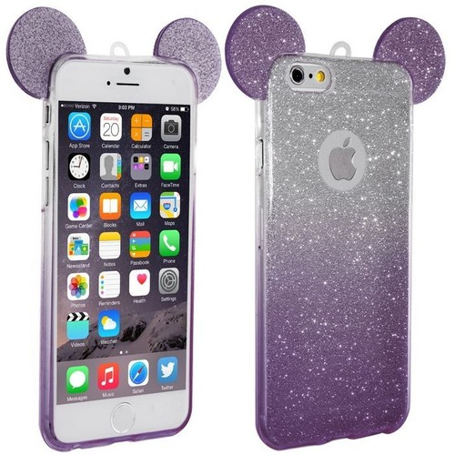 coque silicone iphone 5 5s se oreilles de mickey paillet e violet. Black Bedroom Furniture Sets. Home Design Ideas