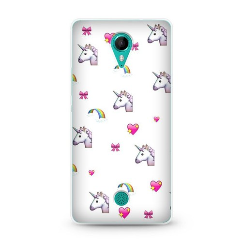 coque wiko tommy licorne cute arc en ciel noeud coeur love emoji silicone gel