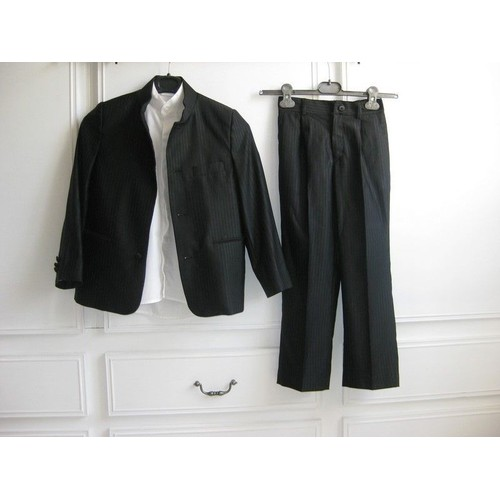 Costume 3 pi ces adriano jacometti tati mariage 8 ans veste chemise pantalon satin - Costume noir chemise noir ...