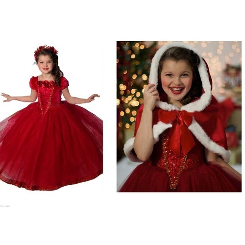 costume d guisement m re noel rouge robe avec cape fille taille 5 ans 6 ans 7 ans 8 ans. Black Bedroom Furniture Sets. Home Design Ideas