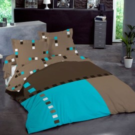 cotonflor eliot housse de couette turquoise achat et vente. Black Bedroom Furniture Sets. Home Design Ideas