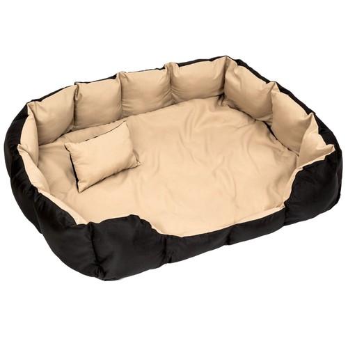 coussin pour chien lit pour chien panier pour chien douillet noir beige taille xxl tectake. Black Bedroom Furniture Sets. Home Design Ideas