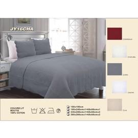 couvre lit boutis uni piquage vagues 100 coton achat et vente. Black Bedroom Furniture Sets. Home Design Ideas