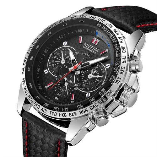 cuir montre homme megir marque 1010 mouvement quartz montre tanche noir. Black Bedroom Furniture Sets. Home Design Ideas