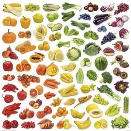 poster reproduction - arc en ciel de fruits et légumes (100x100 cm)