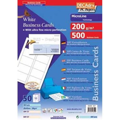 Decadry Cartes De Visite Microline Ft 85 X 54 Mm 200 G M 500