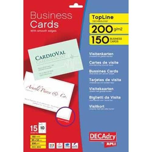 Decadry Cartes De Visite Topline 150 10 Ft 85 X 54 Mm Par A4