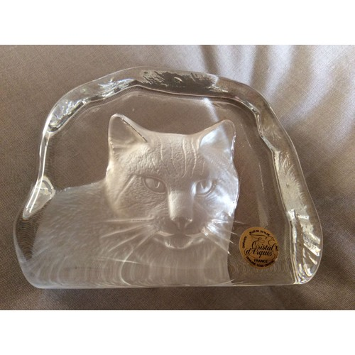 Decoration chat cristal d 39 arques bibelot verre presse - Presse papier en verre decoration ...