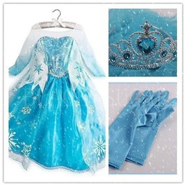 d guisement complet enfant tenue princesse elsa anna reine des neiges robe gants couronne. Black Bedroom Furniture Sets. Home Design Ideas