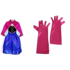 D guisement costume enfant robe gants cape tenue princesse anna reine des neiges frozen elsa - Robe anna reine des neiges ...