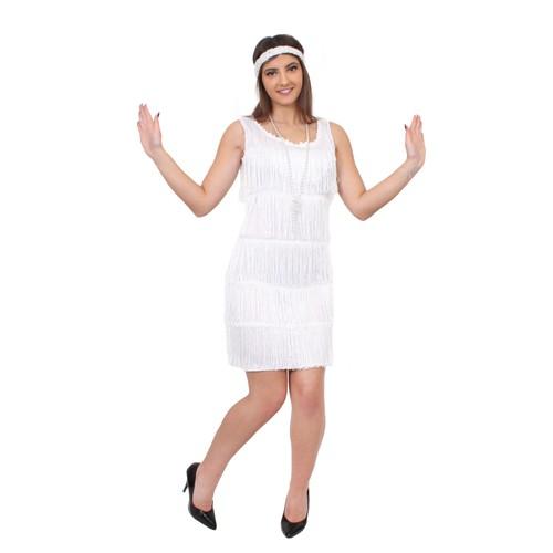 d guisement pour femme des ann es 20 avec robe blanc franges devant et derri re style. Black Bedroom Furniture Sets. Home Design Ideas