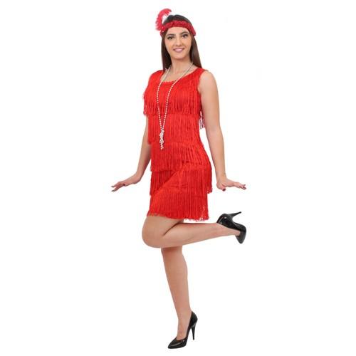 D guisement pour femme des ann es 20 avec robe rouge - Robe charleston franges ...